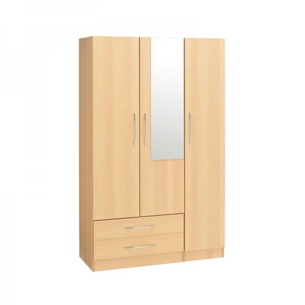 Alaska 3 Door 2 Draw Mirror Wardrobe1