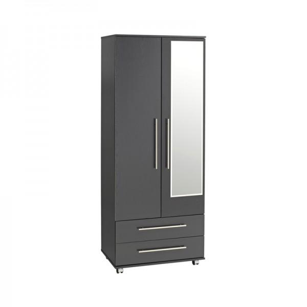Bobby 2 Door 2 Drawer Wardrobe With Mirror