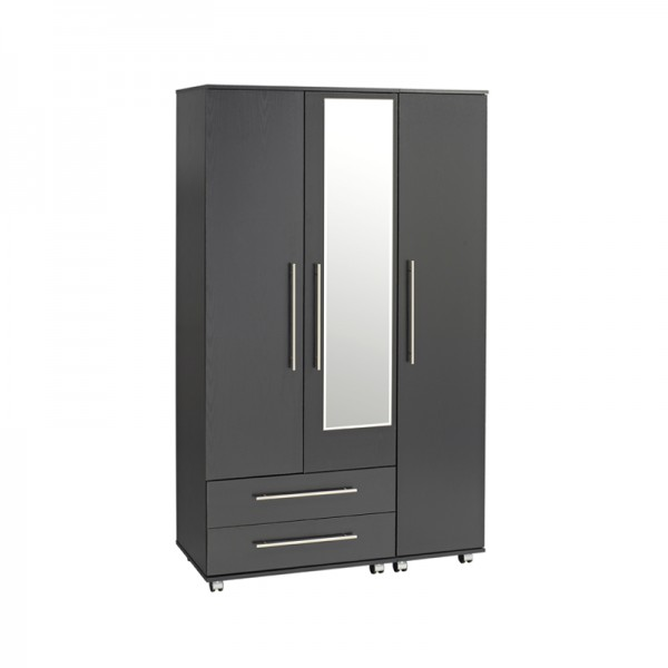 Bobby 3 Door 2 Drawer Wardrobe With Mirror