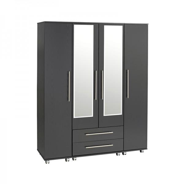 Bobby 4 Door Wardrobe 2 Drawers 2 Mirrors