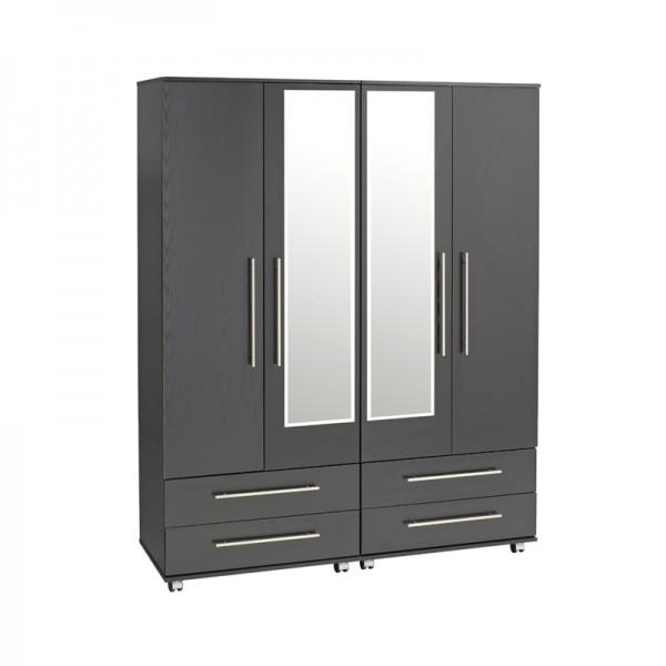 Bobby 4 Door Wardrobe 4 Drawers 2 Mirrors