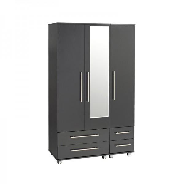 Bobby Black 3 Door 4 Drawer Wardrobe With Mirror