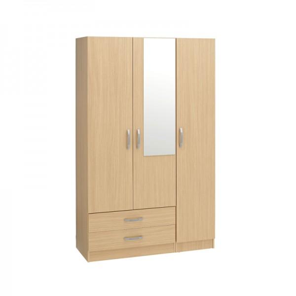 Budget 3 Door 2 Drawer Wardrobe With Mirror