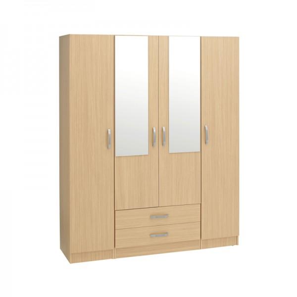 Budget 4 Door 2 Drawer Wardrobe With 2 Mirrors