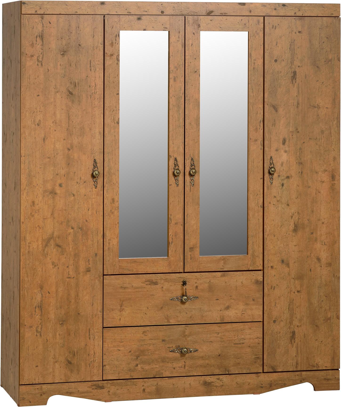 Cairo 4 Door 2 Drawer Mirrored Wardrobe