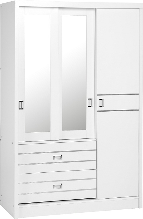 Jordan 3 Door 2 Drawer Sliding Mirrored Wardrobe