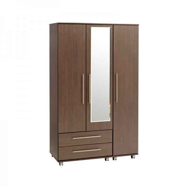 New York 3 Door 2 Drawers Wardrobe With Mirror