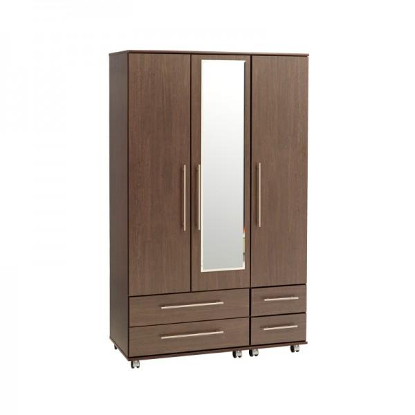 New York 3 Door 4 Drawers Wardrobe With Mirror