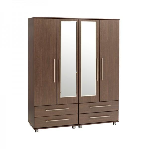 New York 4 Door 4 Drawer Wardrobe With 2 Mirrors