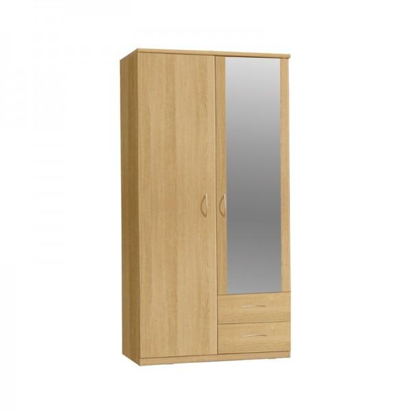 Onyx 2 Door 2 Drawer Wardrobe With Mirror
