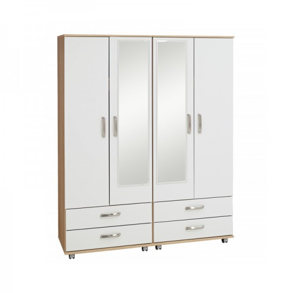 Regal 4 Door Wardrobe With 4 Drawers And 2 Mirrors