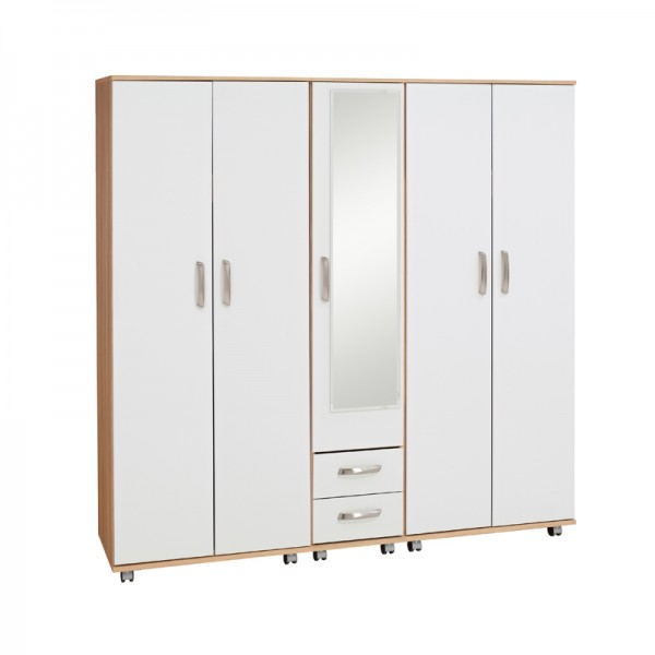Regal 5 Door Wardrobe With 2 Drawers And Mirror