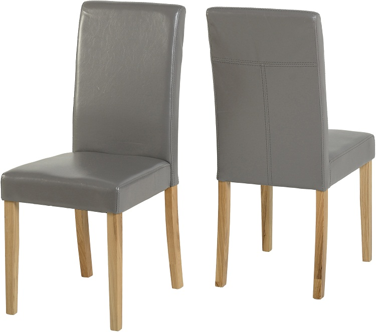 Chairs Silver Grey Pu