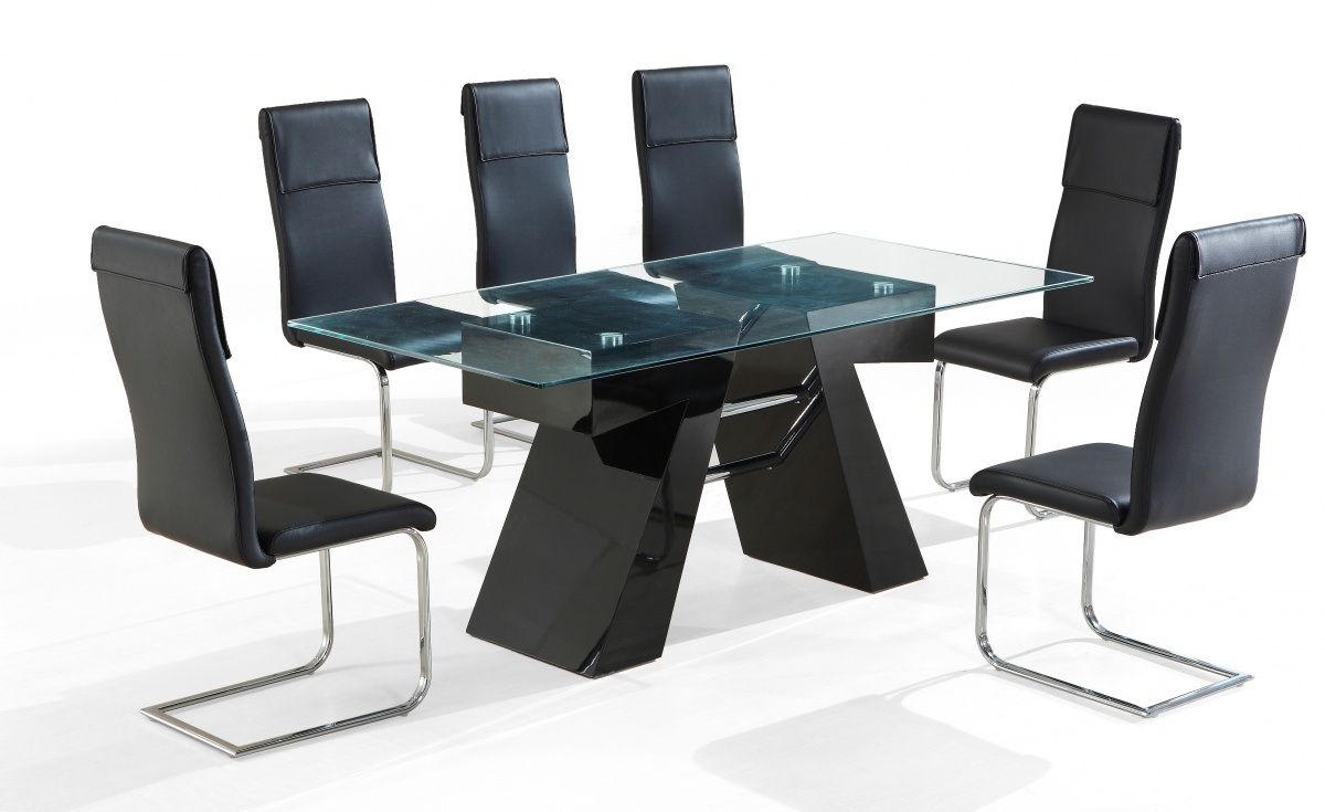 Reno Dining Set With Black Chairs